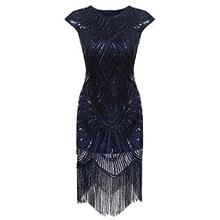 AIMADO Damen Gatsby 1920er Flapper Kleid, Diamant Pailletten Verschönert, Blau, EU 38 (Herstellergröße M)
