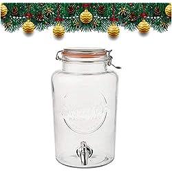 Smith's Mason Jars Distributeur de Boisson de 5 litres avec cônes en Acier, Treillis métallique et étiquettes-Cadeaux. C'est Le Refroidisseur de Boisson Ultime.