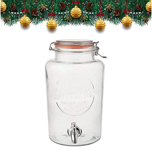 5 Liter Getränkespender von Smith\'s Mason Jars mit Stahlkegeln, Blockdrahtgeflecht und Geschenkanhänger. Es ist der ultimative Getränkekühler
