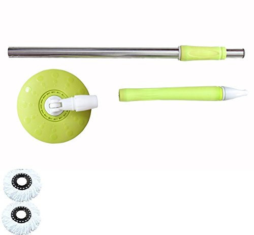 Home Cleaning 360° Spin Floor Cleaning Easy Advance TechRotating Steel Pole Head Of Bucket Mop With 2 Microfiber Refill Heads - Green  available at amazon for Rs.399