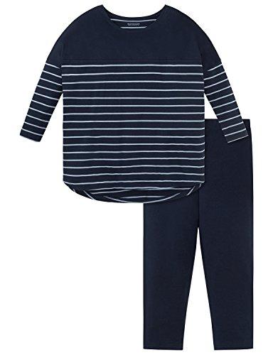 Schiesser Mädchen Zweiteiliger Schlafanzug Anzug 3/4, Blau (Nachtblau 804), 140 (Herstellergröße XS) (Ärmel Schlafanzug 3/4)