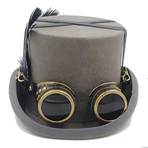 n Retro Punk Unisex Party schwarzer Hut Vintage Steampunk Gothic Brille Top Hüte Cosplay Nussknacker Festival Hut viktorianischen Hochzeit Tophat ()