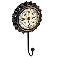 KNOBLINE Wall Coat Rack Hooks Hanger Vintage black iron bottle cap COMPASS Retro 110x190MM