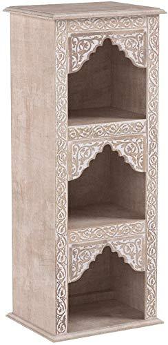 Regal aus Holz massiv schmal in Weiss Asmara 87cm hoch für Bad oder Küche | Braunes Standregal ohne bohren für Badezimmer | schmales Raumteiler Wandregal für Bücher cd DVD im Wohnzimmer