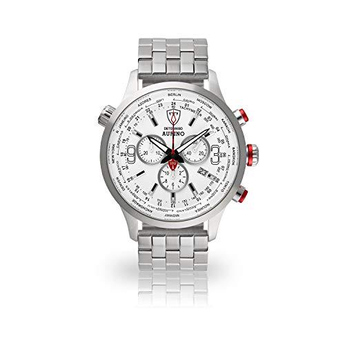 DETOMASO AURINO Uomo Orologio Analogico Cronografo Cinturino in acciaio inox argento quarzo quadrante bianco DT1061-D-866