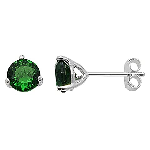 5MM CZ Round Cut Birthstone Stud Earrings - EMERALD GREEN or Choose From 12 Colours - 925 Sterling Silver
