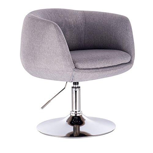 WOLTU® BH70hgr 1 x Barsessel Loungesessel mit Armlehne, stufenlose Höhenverstellung, Leinen, Hellgrau - Stoff-leder-bar Hocker