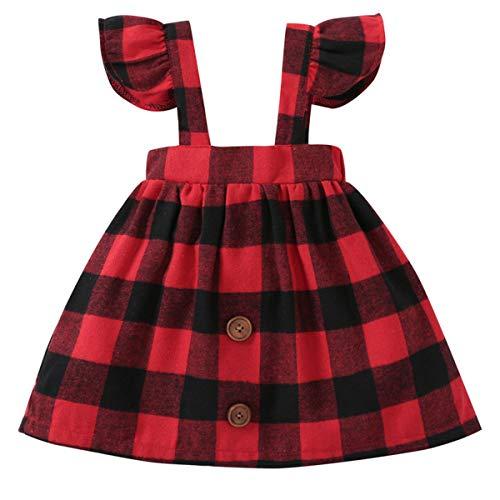 Fairy Baby Filles Toddler Rouge vérifié Plaid Robe Bébé Jupe Brace Ancien Onesie Size 80(6-12...