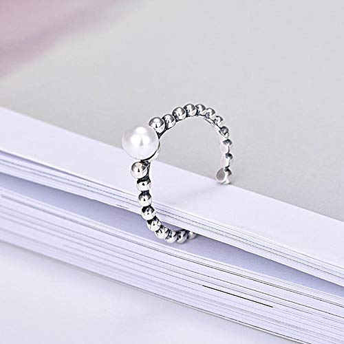 Aoligei Einstellbarer Ring S925 Sterling Silber Ring Mode perlenring Öffnungen