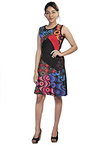 Ladies Summer Sleeveless Dress with Colorful Circle Print and Patch Design-(Multi-TDR-579-M)
