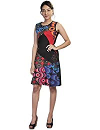 Damen Sommer ärmelloses Kleid mit bunten Kreis Print und Patch-Entwurf…