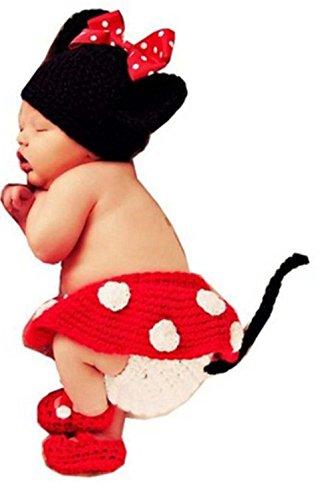 (DAYAN Hübsch Cartoon Maus Baby Neugeborenen Hand gestrickt häkeln Hut Kostüm Fotografie Foto Props)