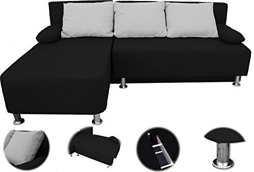 ONUX Ecksofa Couch mit Schlaffunktion Schwarz