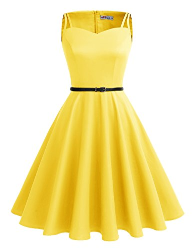 ALAGIRLS 1950er Vintage Rockabilly Einfarbig Party Kleid Retro Muster Cocktailkleid TC1951Yellow XL (1950er Jahre Outfit)