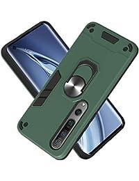 Funda para Xiaomi Mi 10 5G/Mi 10 Pro 5G Soft TPU + Duro PC Doble Parachoques Cubierta a Anillo Soporte con Soporte y Carcasa Desmontable, Funda Protectora Serie Armadura (Verde Oscuro)