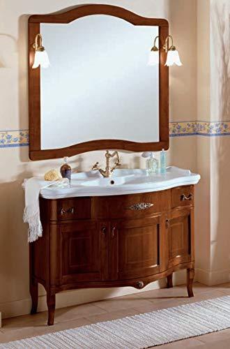 Iris inlay mobile da bagno in legno stile classico tre ante e due cassetti 110x60cm