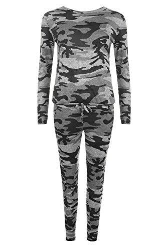 Neuf Pour Femmes Salon Camouflage Survêtement 36 - 42 Camouflage gris
