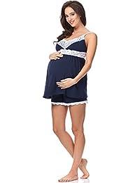 Be Mammy Damen Umstands Pyjama mit Stillfunktion BE20-148