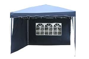 Kronenburg Falt Pavillon 3 x 3 m in blau mit 2 Seitenteilen