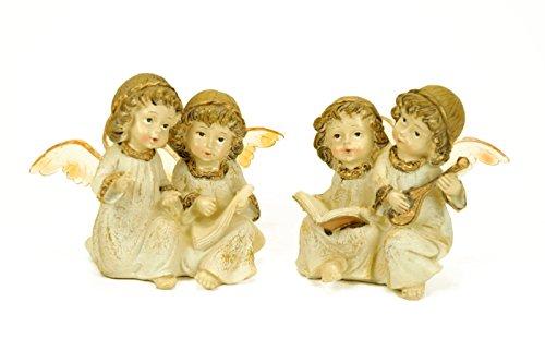 2 Figuras Decorativas Religiosas' Ángeles Sentados' Figuritas. 12 x 8 x 9 cm