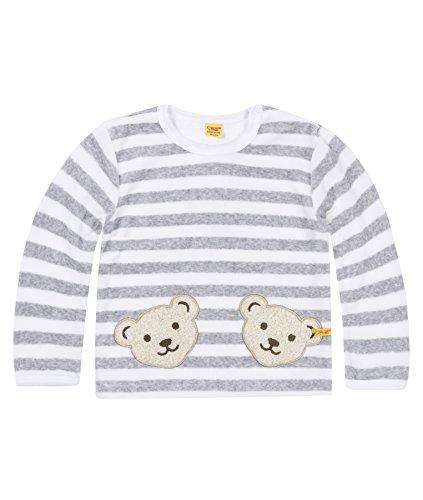 Steiff Unisex - Baby Sweatshirt, gestreift Doppelbären Shirt 0002891, Gr. 62, Grau (softgrey 8200)