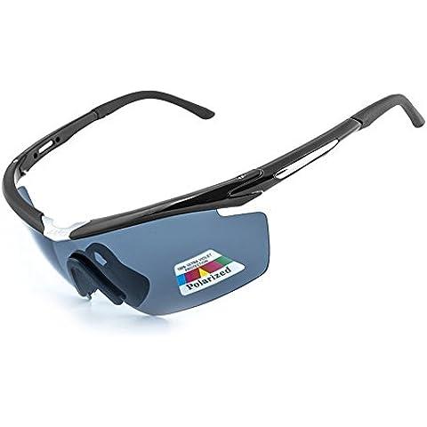 bicicletta polarizzate occhiali Equitazione da sole di guida sportivi PC di Uomini o Donne Bettertol con 5 lenti intercambiabili(Nero)