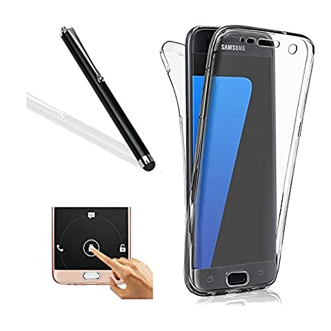 Galaxy S7 Case,Galaxy S7 TPU Cover,Leeook Ultra Thin Transparent Clear Design Shockproof Cover Soft TPU Silicone Slim Fit Scratch Resistant Front and Back Full Body 360 Degree Protection Gel Bumper Case for Samsung Galaxy S7 + 1 x Free Black Stylus