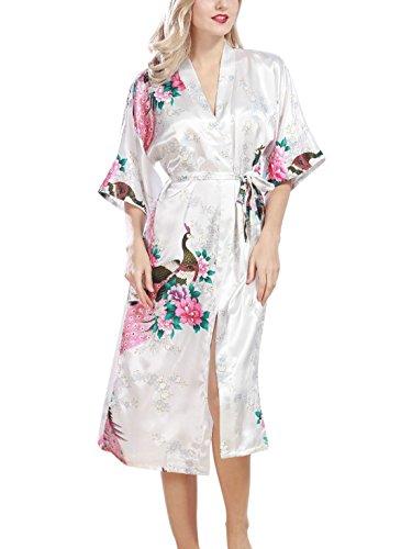 Feoya Damen Sommer Sleepwear Imitation Seide Nachtwäsche Pfau ...