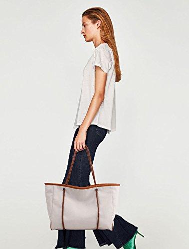 NICOLE&DORIS Vintage Frauen Tote Handtaschen Umhängetasche Crossbody Tasche Reisetasche Large Capacity Canvas Braun Weiß