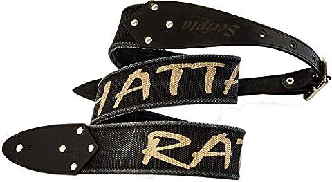 Guitar Strap Metal - Sepultura - RATAMAHATTA - Organic Cotton Guitar Strap and Genuine Leather Hooks - Etabeta Artigiano Toscano - Made in Italy (black