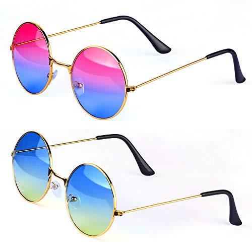 Haichen Gafas de Sol Retro Hippie, Gafas Estilo John Lennon Estilo años 60, Accesorios de Disfraces (E)