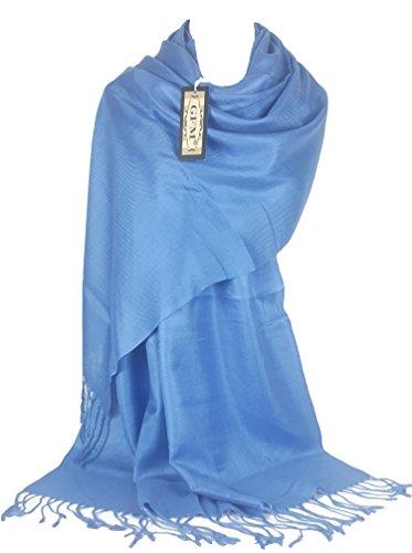 GFM Fastglas liss'au toucher Ultra doux Style cachemire Pashmina Écharpe de portage B9BechNL - Blue