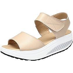 DAFENP Zapatos de Mujer Cuña Sandalias Plataforma Malla Respirable Peep Toe Shape Ups Andar Deporte Zapatilla,lx308-beige2-EU38
