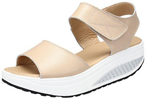 DAFENP Zapatos de Mujer Cuña Sandalias Plataforma Malla Respirable Peep Toe Shape Ups Andar Deporte Zapatilla,lx308-beige2-EU36