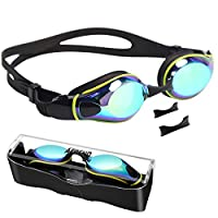 Aegend Swim Goggles, Flat Lens Swimming Goggles with Adjustable Nose Pieces, No Leaking Anti-Fog UV Protection Swim Goggle for Adult Men Women Youth