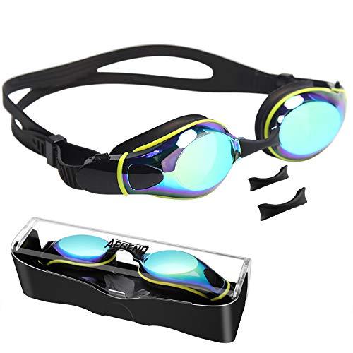 Aegend Schwimmbrille, Schwimmbrille mit flachen Gläsern und verstellbaren Nasenstücken, keine undichten UV-Schutz-Schwimmbrillen gegen Beschlag für Erwachsene Männer Frauen Jugend
