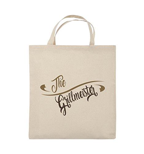 Comedy Bags - The Grillmeister - Jutebeutel - kurze Henkel - 38x42cm - Farbe: Schwarz / Weiss-Hellblau Natural / Hellbraun-Dunkelbraun