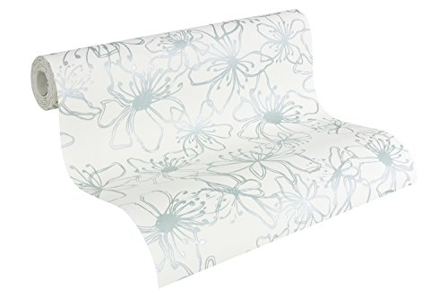 as-creation-vliestapete-naf-naf-mustertapete-floral-reinweiss-pastellturkis-952273