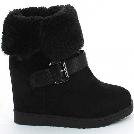 Ideal Shoes - Bottines compensées et fourrées avec ceinturon Hilarie Noir