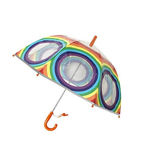 SMATI Paraguas niños Largo Arco Iris Transparente Forma de Campana Borde Fluorescencia