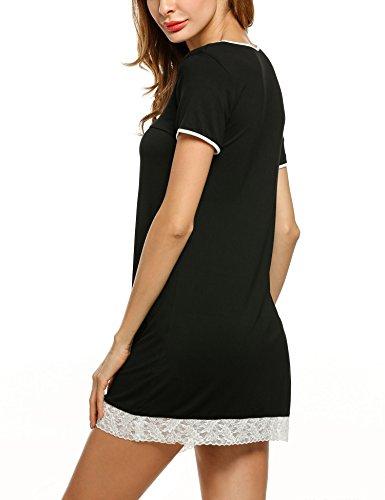 HOTOUCH Femme Chemise de Nuit Manche Courte Robe de Nuit Nuisette Noir