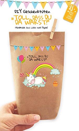 6x Einhorn Geschenktüten / Papiertüten liebevoll bedruckt aus Kraftpapier, zum Verpacken von Geschenken, Gastgeschenken, Mitgebsel, Giveaways, Kindergeburtstag, Hochzeit. 100% recyclebar! - Kraft-papier Mache