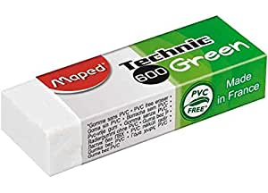 MAPED Lot de 6 Gommes en plastique Technic 600 Green, blanc