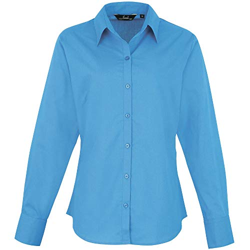Premier Womens/Ladies Poplin Polycotton Long Sleeve Corporate Blouse Bust Darts