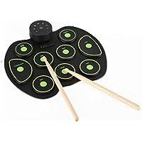 Esterilla de música portátil enrollable sobre el instrumento de música digital, la música primera educación del tambor de jazz de simulación de iluminación, para principiantes y niños (color verde)