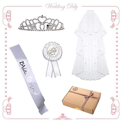 JGA Frauen Set -  junggesellenabschied frauen accessoires | bride to be schärpe, Krone, Anstecker, jga Schleier mit Kamm--damit der Tag so perfekt wie möglich wird