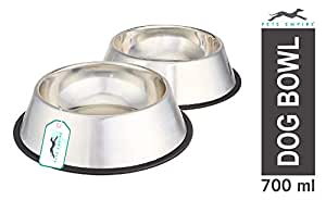 Pets Empire Stainless Steel Dog Bowl Medium (Buy 1, Get 1 Free), 700 ml