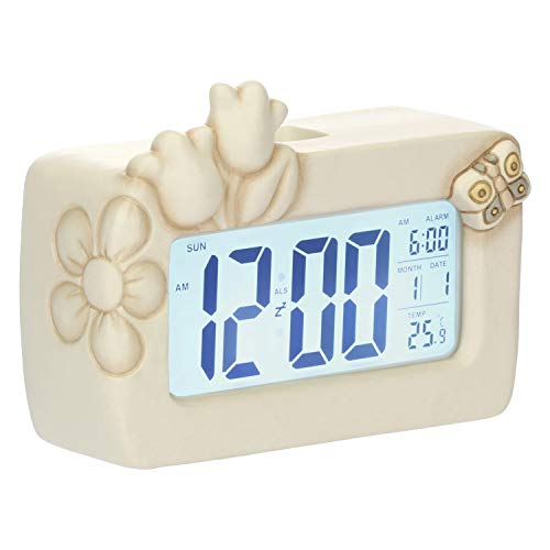 thun - orologio digitale da comodino - linea elegance - ceramica - 16,1x11,7x6,3 cm h