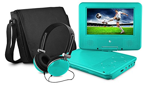 7-Inch , Teal : DVD Player, Ematic 7 inch Swivel Teal Portable DVD Player with Matching Headphones and Bag [ EPD707TL ]