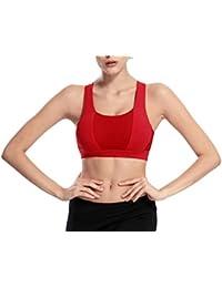 2ca92f6253d32 Bigood Women Sports Yoga Bra Fitness Workout Cross Back Padded Bras Tops